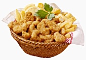 Scampi and chips in a basket