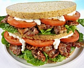 Double-decker BLT sandwich with mayonnaise