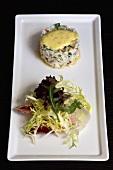 Shrimp cake with tarragon aioli and salad