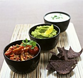 Tomato salsa, guacamole and goat's cheese dip