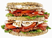 Club sandwich with chicken breast and bacon