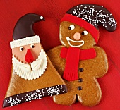 Gingerbread Father Christmas and gingerbread man