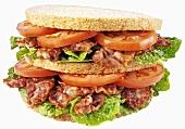 Double-decker BLT sandwich
