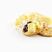 Vintage Cheddar cheese with onion chutney on cracker