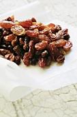 Raisins on waxed paper