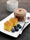 Lemon polenta slices with hot chocolate