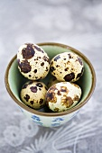 Quails' eggs in a small Chinese bowl