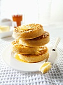 Four buttered crumpets (UK)
