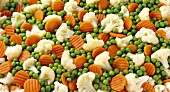 Mixed vegetables: peas, carrots and cauliflower