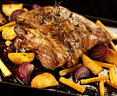 Leg of lamb studded with rosemary