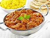 Rogan josh (Indian lamb curry) with saffron rice & flatbread