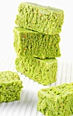 Tower of pistachio barfi (Pistachio sweets, India)
