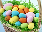 Easter eggs in small basket