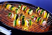 Vegetable skewers on barbecue