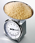 Brown rice on kitchen scales