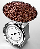 Roasted coffee beans on kitchen scales