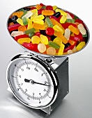 Wine gums on kitchen scales