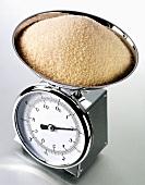 Brown sugar on kitchen scales