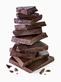 Pile of pieces of dark chocolate