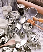 Various baking utensils and baking tins