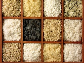 Various types of rice in a typesetter's case