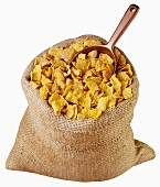Cornflakes in jute sack with scoop