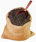 Schwarze Bohnen in einem Jutesack mit Schaufel