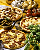 Three pizzas with ingredients