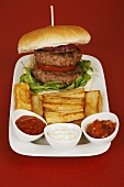 Double burger with chips and dips