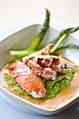 Crab with green asparagus and pea puree
