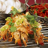 Grilled king prawns with garlic, coriander and chilli