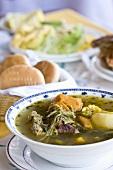 Cazuela de vacuno (Beef and vegetable soup, Chile)