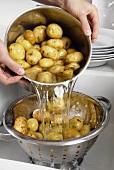 Kartoffeln aus dem Topf in ein Küchensieb schütten