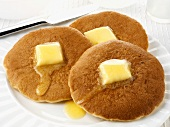 Three Scotch pancakes with butter