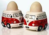 Two boiled eggs in camper-van eggcups