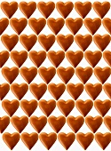 Chocolate hearts, white background