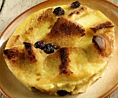 Bread and butter pudding on a plate