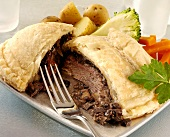 Beef Wellington with vegetables