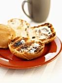 Buttered toasted teacake (UK)