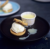 Blueberry biscuits with vanilla ice cream and custard