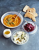 Assorted mezze with olive oil and bread