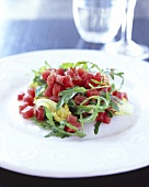 Salmon tartare with salad leaves