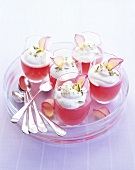Five glasses of rhubarb jelly with rose & pistachio cream