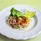 Asian noodle salad with prawns, chilli and sesame seeds