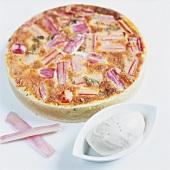 Rhubarb tart with vanilla ice cream
