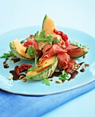 Melon with Parma ham, rocket and balsamic dressing