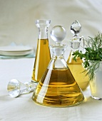 Olive oil in three different bottles