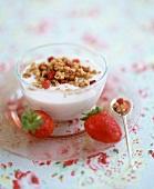 Yoghurt with granola and fresh strawberries