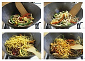 Stir-frying egg noodles with chicken and vegetables in wok