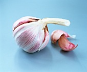 A bulb of garlic with unpeeled cloves
